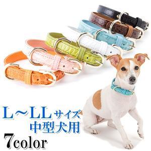 犬の首輪 犬首輪  中型犬用 クロコダイル型押しレザー首輪 L 、LLサイズ