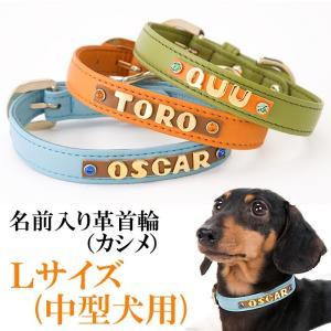 犬の首輪 犬首輪 小型犬用 名前入り首輪カシメ Lサイズ