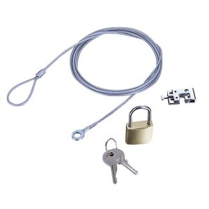エレコム セキュリティロック ワイヤー (1.7m/径2.2mm) 南京錠 ESL-3|csh
