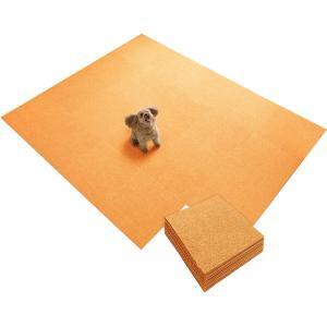 サンコー ズレない タイル カーペット ペット用 ジョイント マット 撥水 消臭 45×45cm 同色30枚入 オレンジ おくだけ吸着 KN-80(日本製) csh