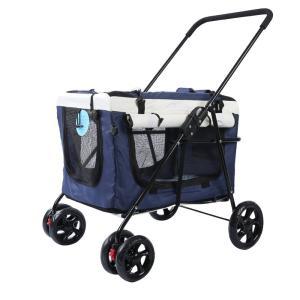 (Newox) ペットカート ペットバギー キャリーバッグ ペットバッグ 2WAY 多頭用 折りたたみ 犬、猫 2WAY 【バッグだけのご利用も可能】 (ブルー) csh