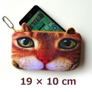 3Dリアル猫ポーチ スマホも入る横長タイプ! 耳が立体的なかわいいネコ型ポーチ ペンケース、化粧ポーチ、スマホケースにもなります|csselect