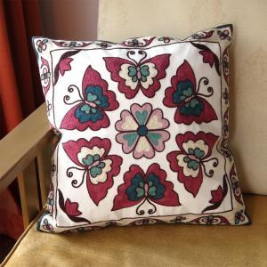 北欧風デザイン刺繍クッションカバー45×45 蝶柄 バタフライ|csselect