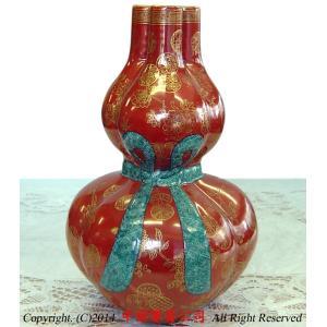 景徳鎮花瓶 故宮蔵磁複製 三孔加金瓢箪瓶|ctcols