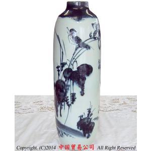 景徳鎮花瓶 作家物 張健夫作 青花花鳥長寿瓶(証書付)|ctcols