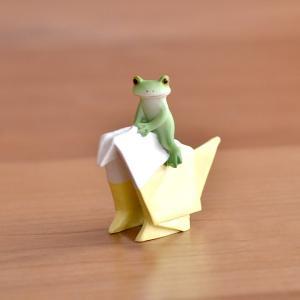 カエルの置物 折り紙インコとカエル Copeau コポー カエル グッズ 玄関 かえる 折り紙 おり...