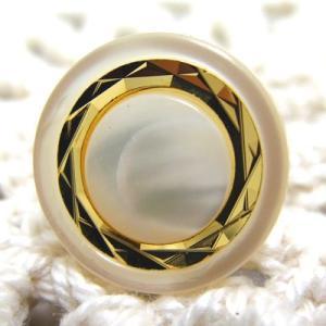 綺麗にカッティングされた模様が特徴の 貝 ボタン 2 (1279) 15mm cufflink