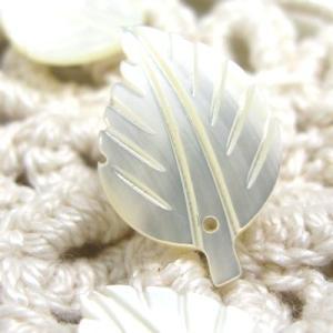 高瀬貝を使用した手作り 貝 パーツ リーフB 3個入り cufflink