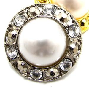 (訳あり) 真珠 をモチーフにした球と スワロフスキー がゴージャスな ボタン (G-5356) CPB-076 20mm|cufflink