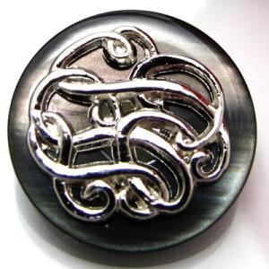 (訳あり)蝶貝のようなポリに金属で曲線を絡めた模様を描いた ボタン (SHL-5010) CPB-079 18mm|cufflink