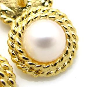 (訳あり)真珠にチェーンを巻いたようなデザインの 金属 ボタン (GP-5941) CPB-081 13mm|cufflink