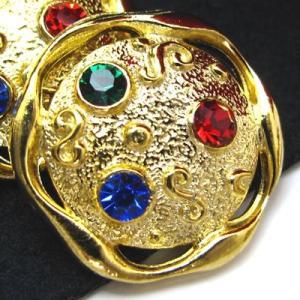 (訳あり)3色の スワロフスキー と流れるような形の縁が特徴的な 金属 ボタン (G-50222) CPB-085 20mm|cufflink