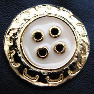 (訳あり)真ん中を白く塗ったお花の様な 金属 ボタン (50532) CPB-087 18mm|cufflink