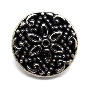 (訳あり)単純な形で作られた花とドットが特徴的な 金属 ボタン (5044) CPB-090 18mm|cufflink