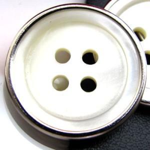 (訳あり)金属に縁のある天然貝のボタンを嵌めこんだ ボタン (1241) CPB-092 15mm|cufflink