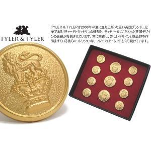 TYLER & TYLER タイラー&タイラー ボタンセット シングルブレスト クラウン&ライオン (ジャケット ブレザー) ブランド|cufflink