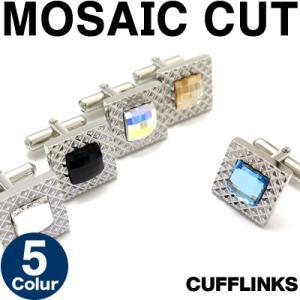 スワロフスキー モザイクカットスクウェアカフス (カフスボタン カフリンクス)|cufflink