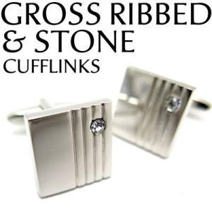 グロスリブ&ストーンカフス (カフスボタン カフリンクス) Value 3500|cufflink