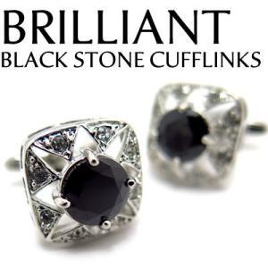 ブリリアントストーンカフス(ブラック) (カフスボタン カフリンクス) Value 3500|cufflink