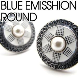 カフスブルーエミッションラウンドカフス (カフスボタン カフリンクス) Basic 5000|cufflink