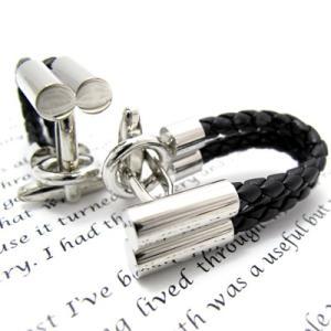編み上げレザー風カフス(ブラック)(カフスボタン カフリンクス) Simple 2500|cufflink