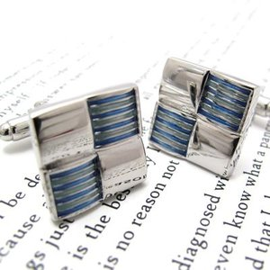 チェッカードボーダーカフス(ブルー) (カフスボタン カフリンクス) Simple 2500|cufflink