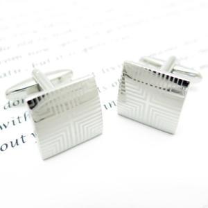 ジオメトリックパターンスクウェアカフス(カフスボタン カフリンクス) Simple 2500|cufflink