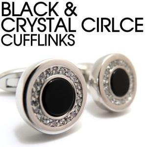 ブラック&クリスタルサークルカフス (カフスボタン カフリンクス) Value 3500|cufflink