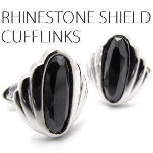ラインストーンシールドカフス(ブラック) (カフスボタン カフリンクス) Lumie 8500|cufflink