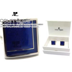 courreges クレージュ ダブルスクウェアカフス(ブルー) (カフスボタン カフリンクス)|cufflink