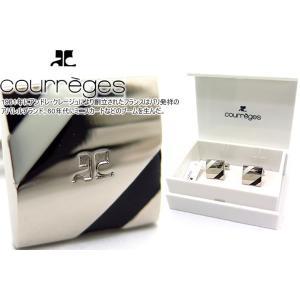 courreges クレージュ オブリークラインカフス(ブラック&ホワイト) (カフスボタン カフリンクス)|cufflink