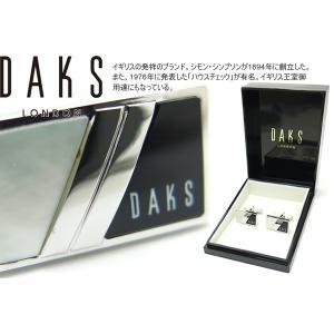 DAKS ダックス レクタングル白蝶貝&オニキスカフス (カフスボタン カフリンクス)|cufflink