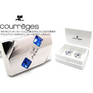 courreges クレージュ ブルーツードットカフス (カフスボタン カフリンクス)|cufflink
