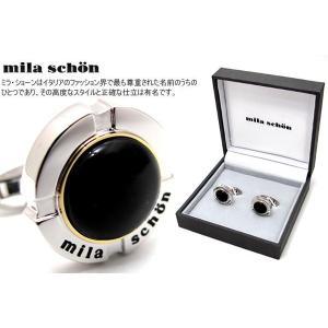 mila schon ミラ・ショーン 円形オニキスカフス (ミラショーン カフリンクス カフスボタン)|cufflink