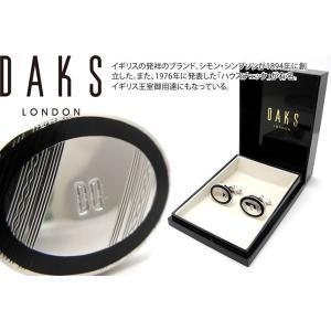 DAKS ダックス ブラックラインオーバルシルバーカフス (カフスボタン カフリンクス)|cufflink