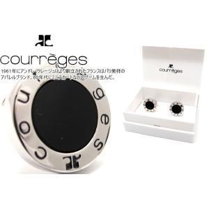 courreges クレージュ ラウンドロゴブラックカフス (カフスボタン カフリンクス)|cufflink