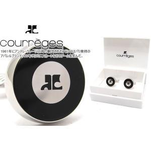 courreges クレージュ ダブルラウンドカフス(ブラック) (カフスボタン カフリンクス)|cufflink