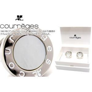 P10倍 courreges クレージュ ラウンドロゴカフス(白蝶貝) (カフスボタン カフリンクス)|cufflink