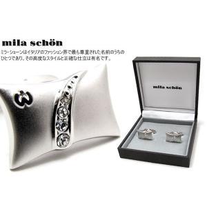 mila schon ミラ・ショーン 長方形カーブスワロフスキーカフス (ミラショーン カフリンクス カフスボタン)|cufflink