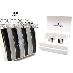 courreges クレージュ ストライプスクウェアブラック&ホワイトカフス (カフスボタン カフリンクス)|cufflink