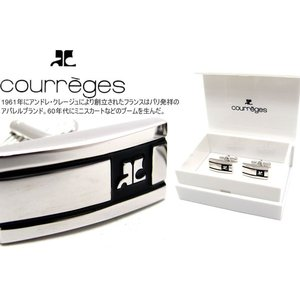 courreges クレージュ ブラックラインカフス (カフスボタン カフリンクス) cufflink