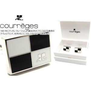 courreges クレージュ パーティション カフス(ブラック&ホワイト) (カフスボタン カフリンクス)|cufflink
