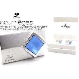 courreges クレージュ マット&ブルーストーンカフス (カフスボタン カフリンクス)|cufflink