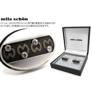mila schon ミラ・ショーン 楕円形ボーダーロゴパターンカフス (ミラショーン カフリンクス カフスボタン)|cufflink