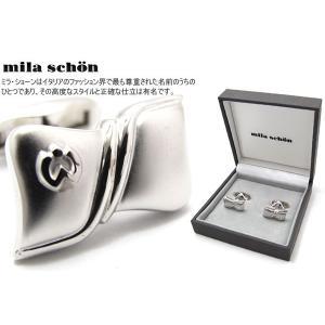 mila schon ミラ・ショーン リボン形マット&グロスカフス (ミラショーン カフリンクス カフスボタン)|cufflink