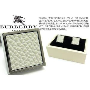 BURBERRY バーバリー ロンドンレザーガンメタルカフス(ホワイト) (カフスボタン カフリンクス) アウトレット|cufflink