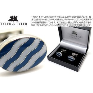 TYLER & TYLER タイラー&タイラー カプセルボールドウェーブカフス(ネイビー/ホワイト) ブランド|cufflink