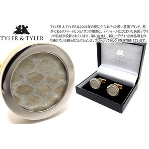 TYLER & TYLER タイラー&タイラー カプセルツートンハイドカフス(スネークベージュ) ブランド|cufflink