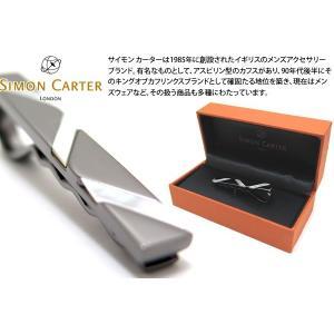 SIMON CARTER サイモン・カーター ウェーブタイスライド(白蝶貝&ガンメタル) (タイピン タイバー タイクリップ)|cufflink