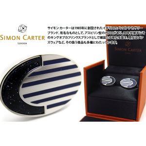 SIMON CARTER サイモン・カーター デコオーバルカフス(ブルーゴールドストーン) (カフスボタン カフリンクス)|cufflink